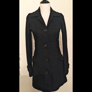 Anthropologie Tulle Black Wool 3/4 Lined fall Coat
